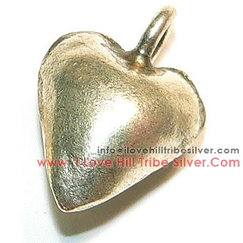 5 Plain Heart Charms By I Love Hill Tribe Silver
