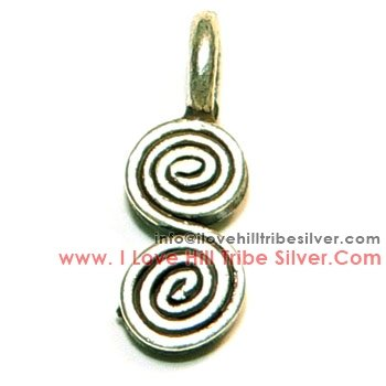 5 Double Swirls Charms By I Love Hill Tribe Silver
