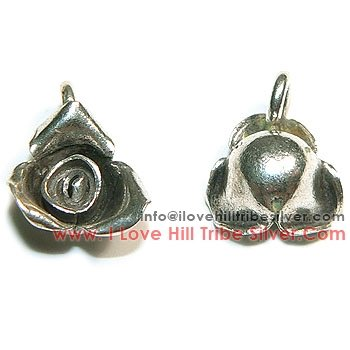 5 Rose Flower Charms By I Love Hill Tribe Silver