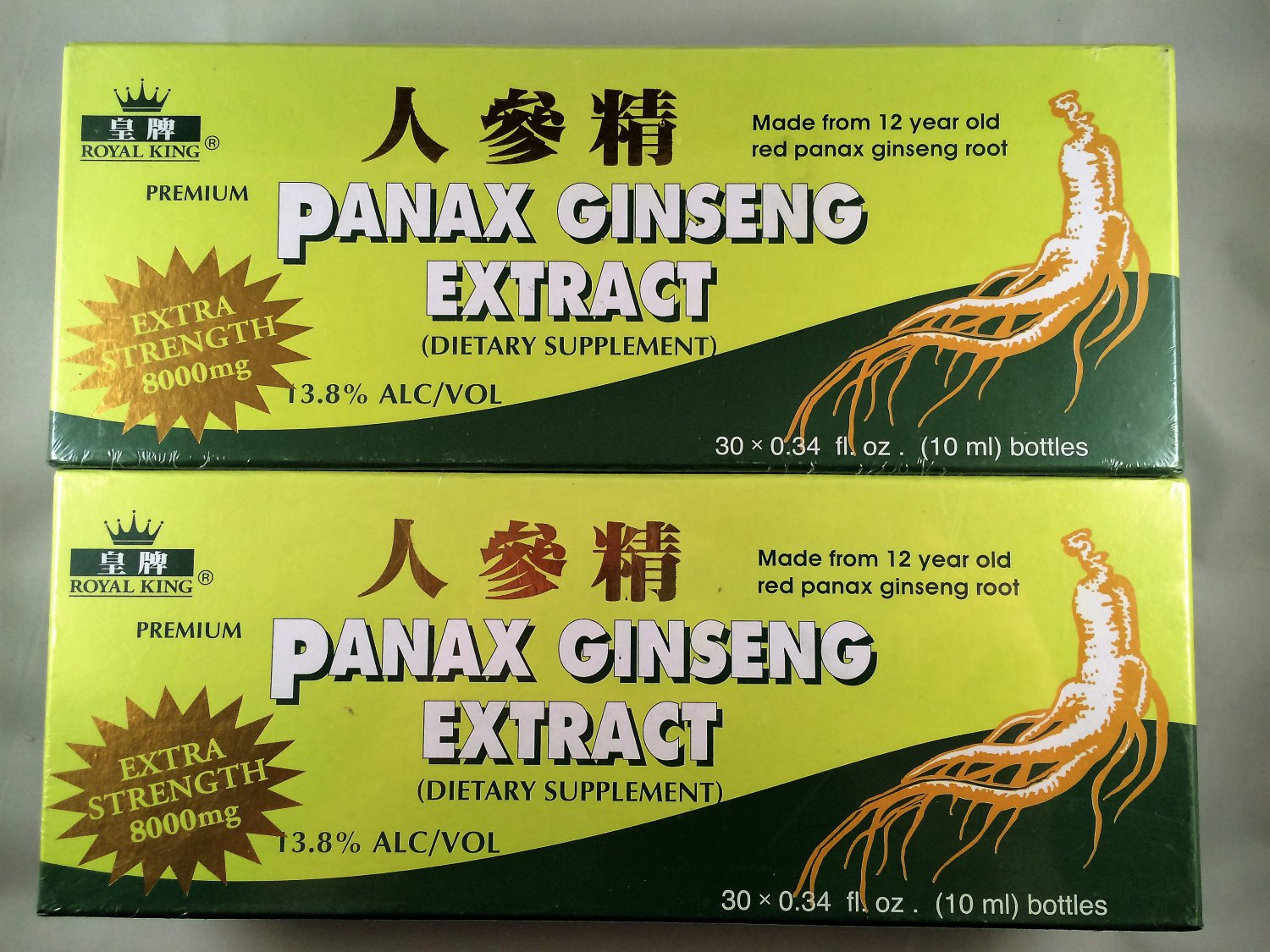 Royal King Panax Ginseng Extract 8000mg Extra Strength (contains 13.8% alcohol)90 Bottles