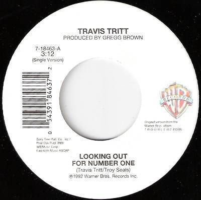 '92 TRAVIS TRITT 45 Looking Out For Number One M-