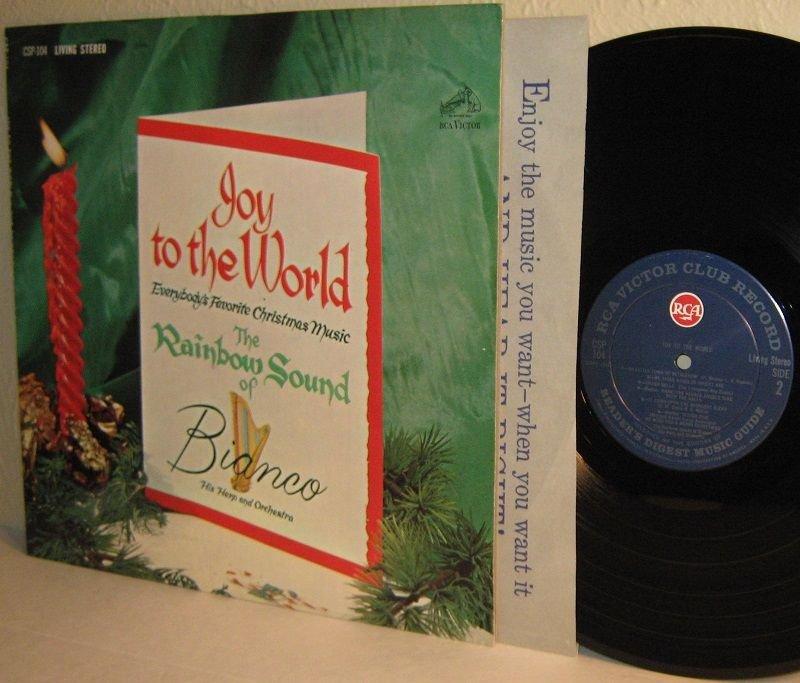 1962 Rainbow Sound BIANCO His Harp and Orchestra Xmas LP Joy To The World M-/VG+