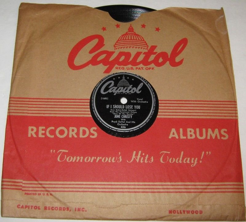 1947 JUNE CHRISTY 78 rpm If I Should Lose You / Skip-Rope Capitol 436