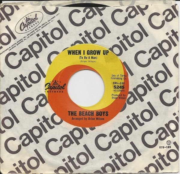 """1965 BEACH BOYS 7"""" 45 When I Grow Up (To Be A Man) / She Know Me Too Well"""