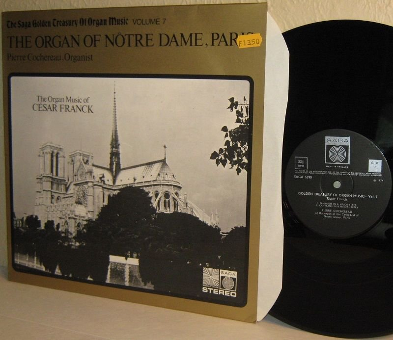 LP SAGA 5390 Organ Of Notre Dame Paris PIERRE COCHEREAU / Cesar Franck NM