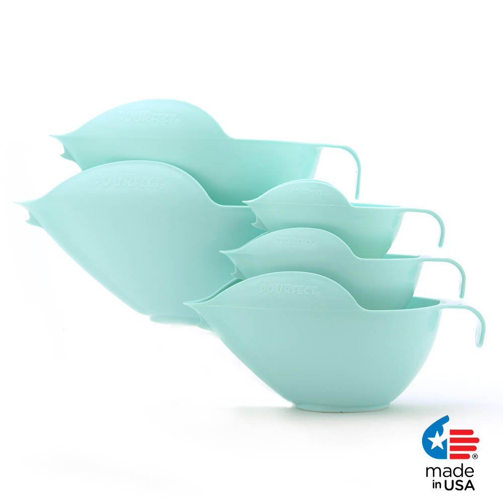 POURfect Mixing Bowls 1013 - 1-2-4-6-8 Cup Bowl Set Ice Blue Made in USA