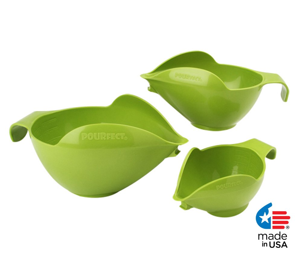 POURfect Mixing Bowls 3pc Prep Set 1005 - 1-2-4 Cup Green Apple Made in USA