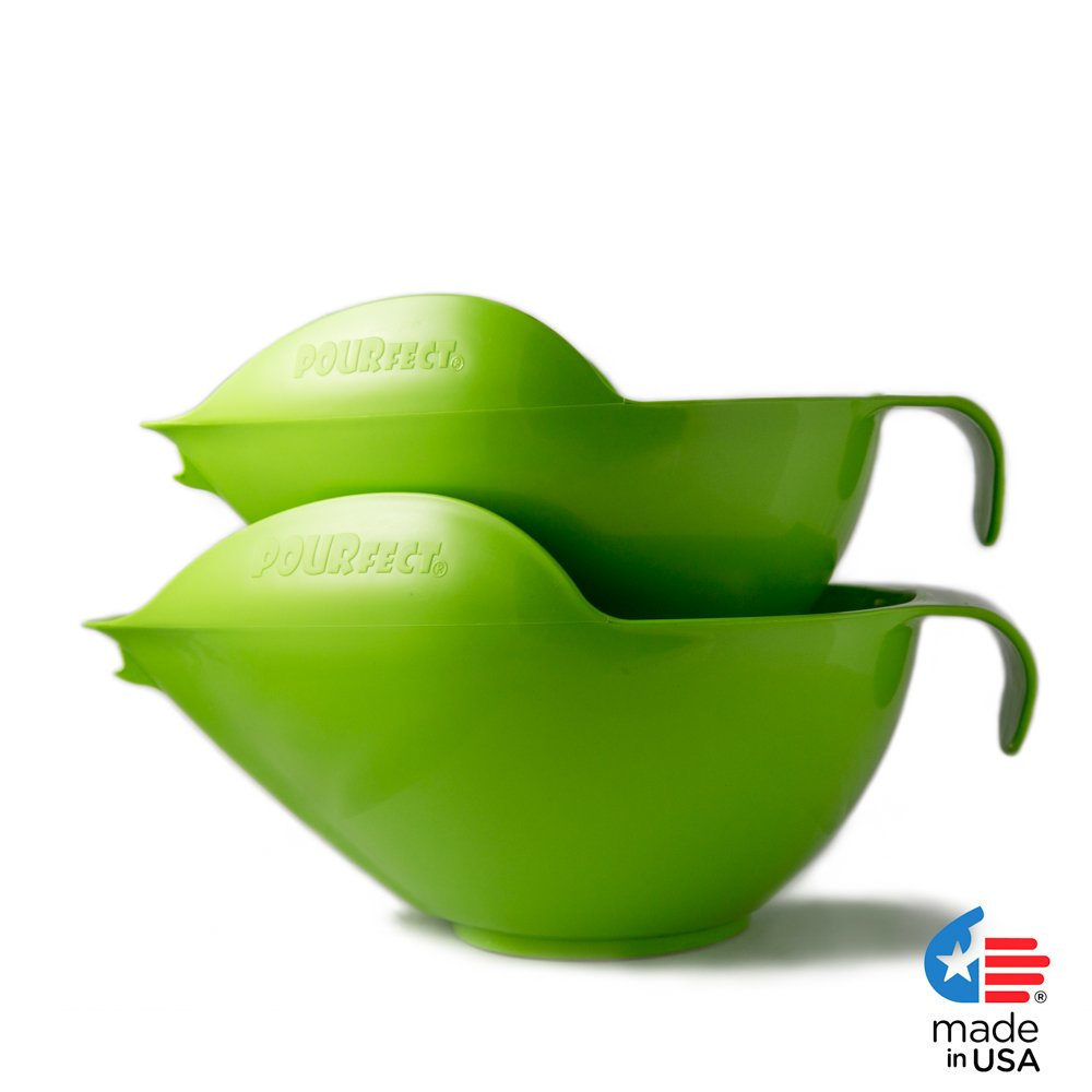 POURfect Mixing Bowls 1010 - 6 & 8 Cups Green Apple Made in USA