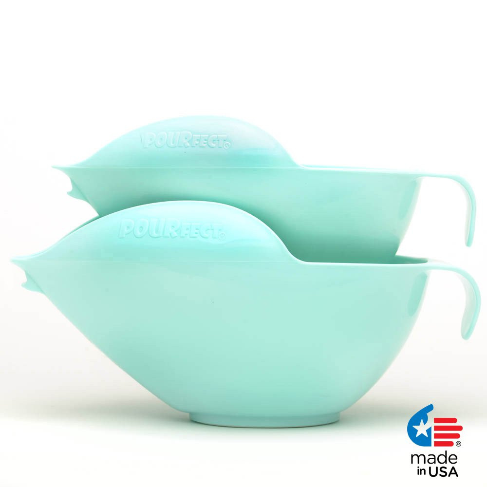 POURfect Mixing Bowls 1010 - 6 & 8 Cups Ice Blue Made in USA