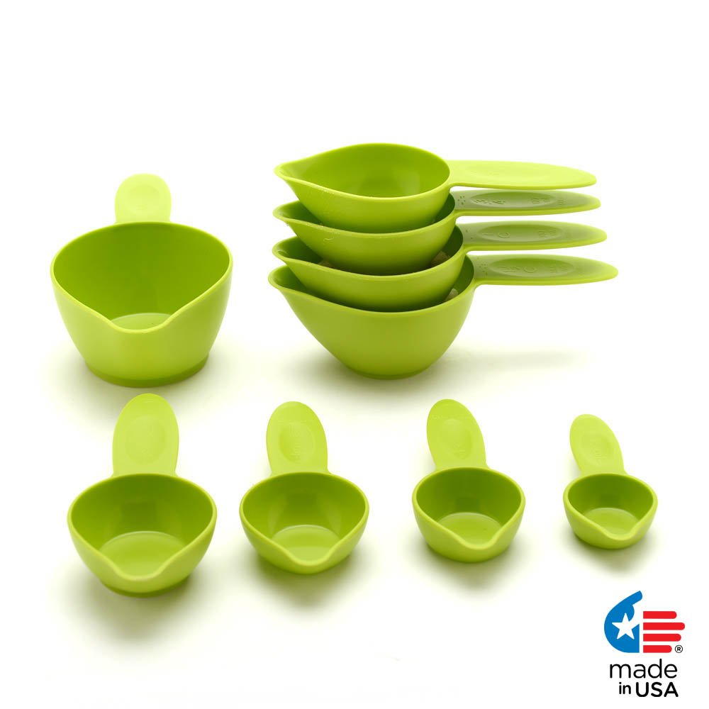 POURfect Measuring Cup Set 9pc Green Apple Made in USA
