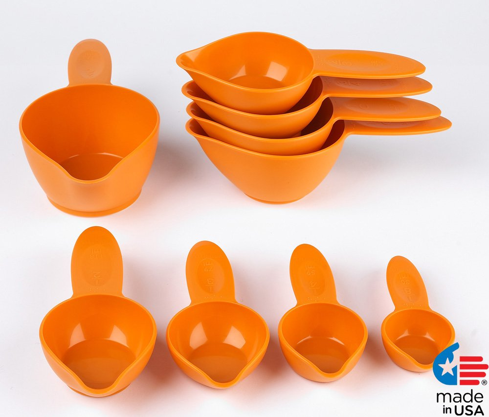 POURfect Measuring Cup Set 9pc Tangerine Made in USA