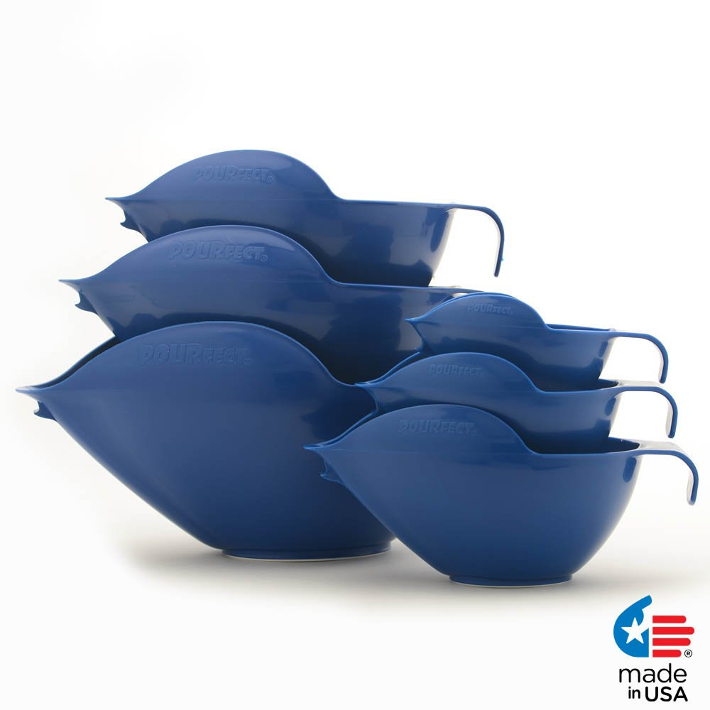 POURfect Mixing Bowls 1015 - 1-2-4-6-8-12 Cup Bowl Set Blue Willow Made in USA