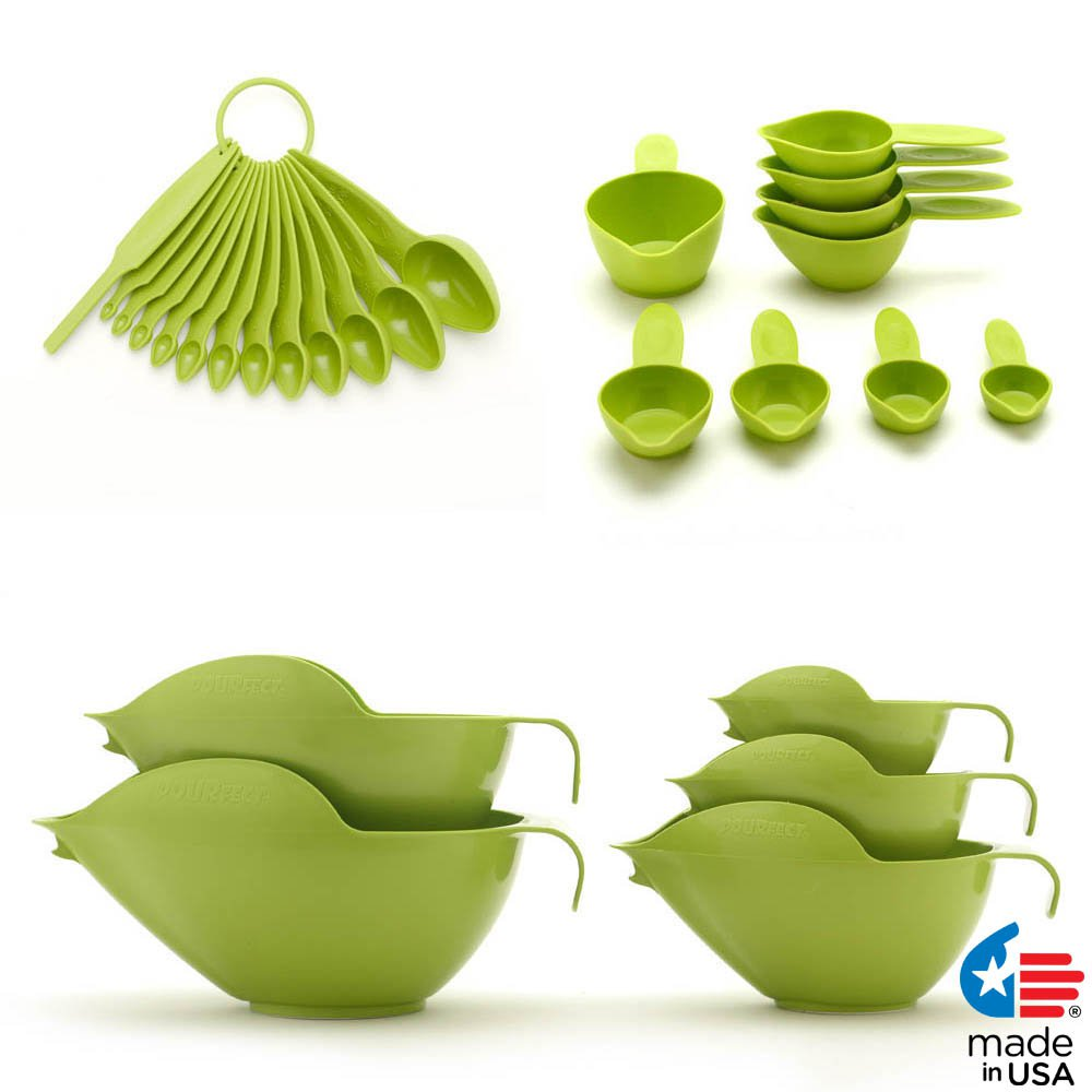 POURfect Mixing Bowls, Measuring Spoons, Measuring Cups Green Apple Made in USA