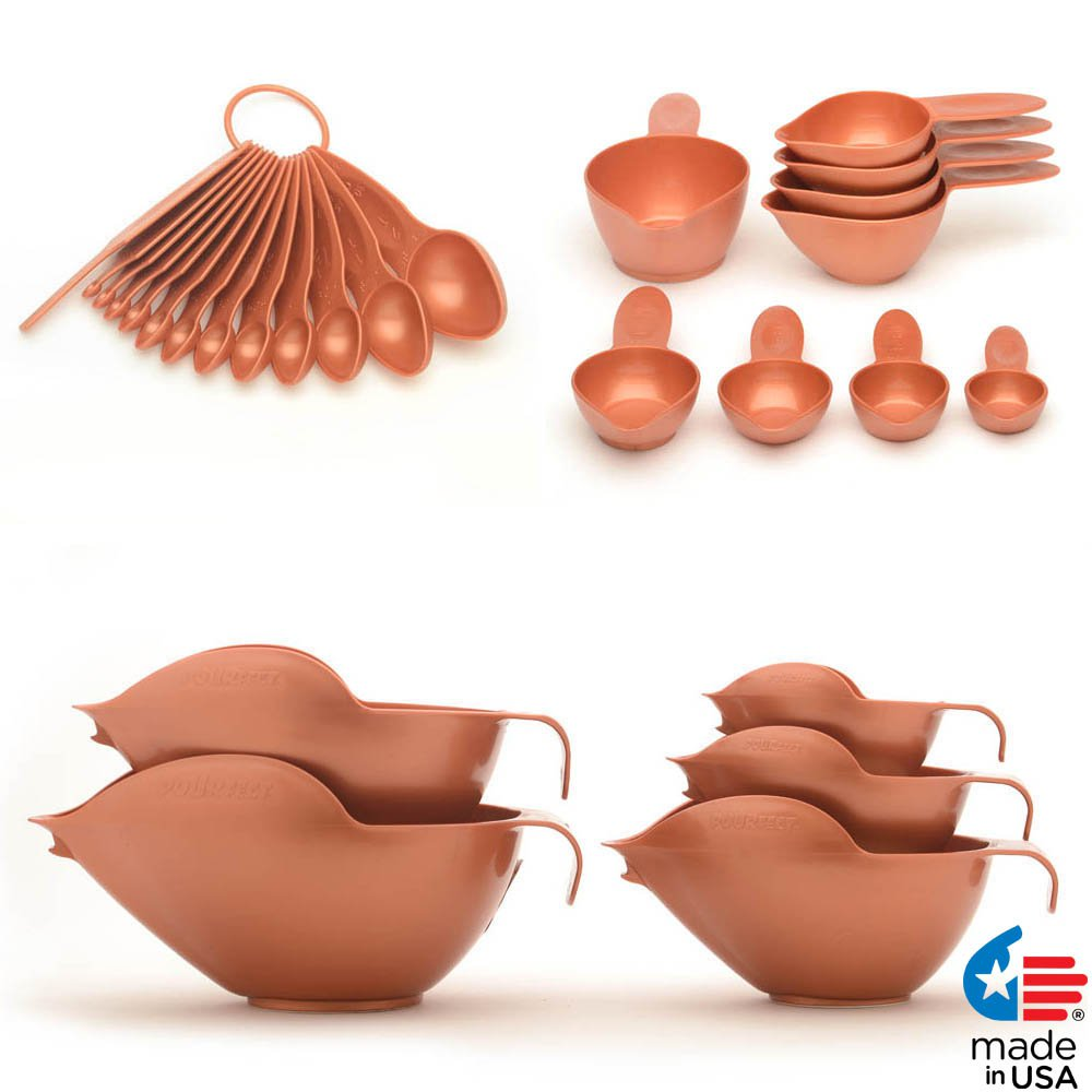 POURfect Mixing Bowls, Measuring Spoons, Measuring Cups Satin Copper Made in USA