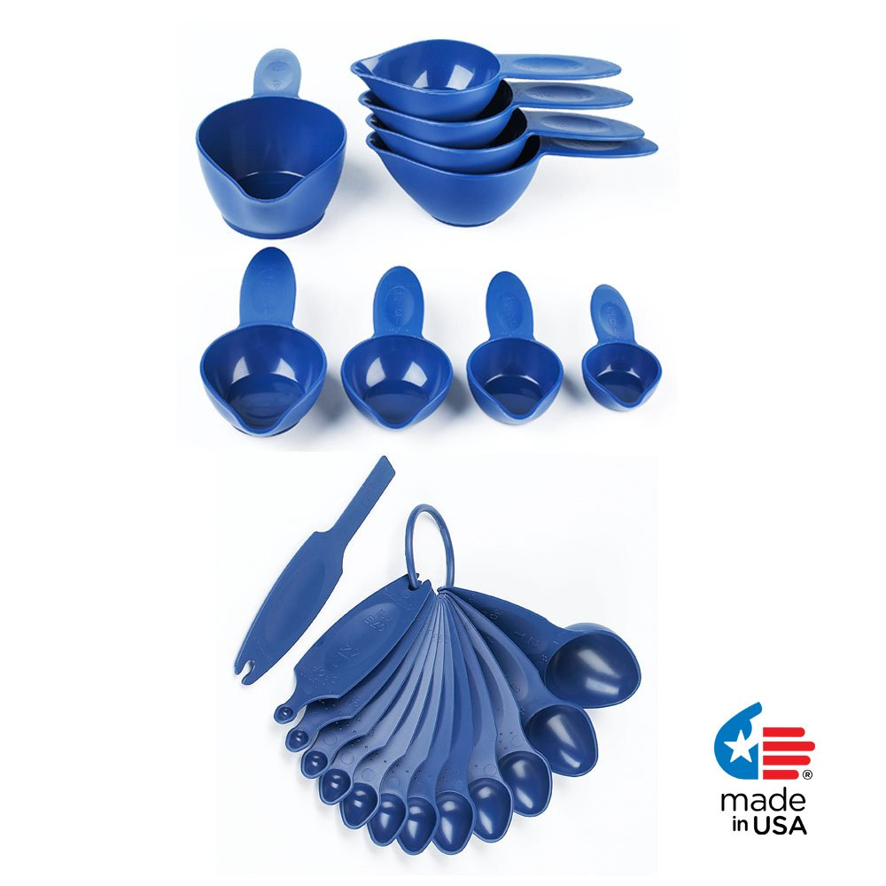POURfect 22pc Measuring Cups & Spoons Blue Willow Made in USA