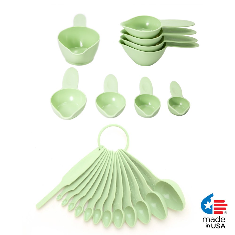 POURfect 22pc Measuring Cups & Spoons Pistachio Made in USA