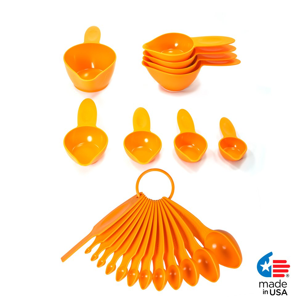 POURfect 22pc Measuring Cups & Spoons Tangerine Made in USA