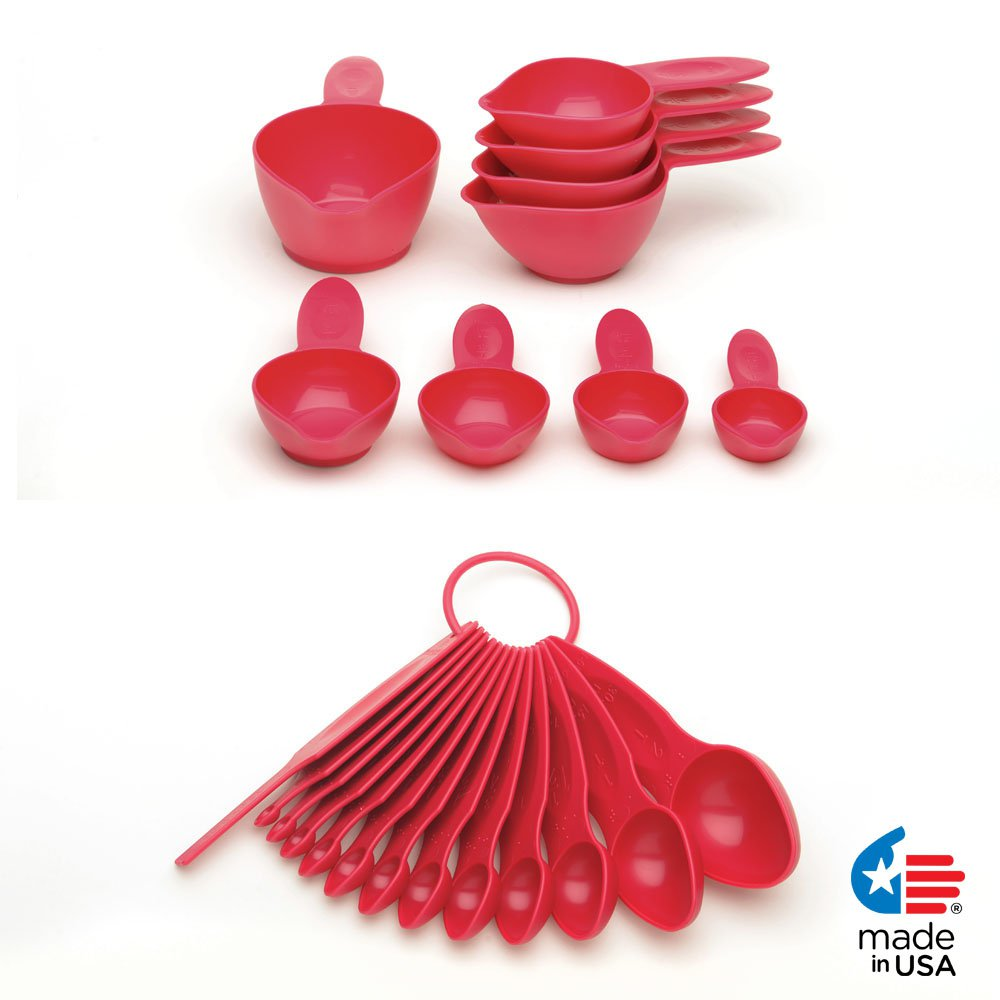 POURfect 22pc Measuring Cups & Spoons Raspberry Ice Made in USA