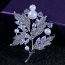 J12  Elegant Sparkle Mother of Pearl Crystal Brooch Pin