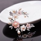 J14  AA+ Mother of Pearl Crystal Brooch Pin
