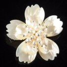 J18  Handcrafted Mother of Pearl 3-Layer Flower Brooch Pin