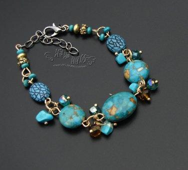 J27  Handcrafted Tribal Turquoise Stone Crystal Retro Bracelet