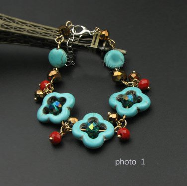 J29  Handcrafted Tribal Bohemia Turquoise Crystal Retro Bracelet
