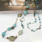 J33 Retro Bohemia Golden Wire Crystal + Turquoise Stone Necklace
