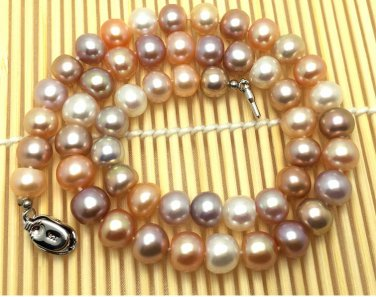 J34  AA+ 9-10mm Brighten Cocktail South Sea Cultured Pearl Round Bead Choker