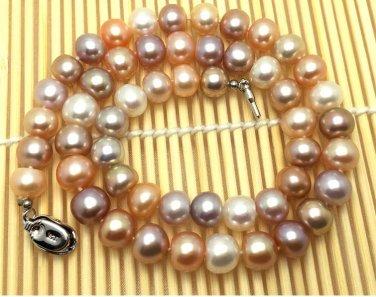 J37  AA+ 9-10mm Brighten Full Deep Champagne South Sea Cultured Pearl Round Bead Choker