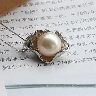 J19  AA+ 925 Sterling Silver with AA Pearl Pendant Choker