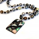 J41   Handcrafted Mosaic Abalone Pendant + Pearls Necklace