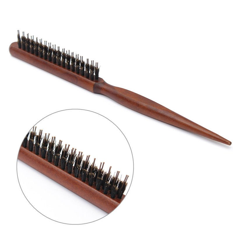 WOOD HANDLE PROFESSIONAL SLIM-LINE STYLING/GROOMING/SECTIONING HAIR BRUSH