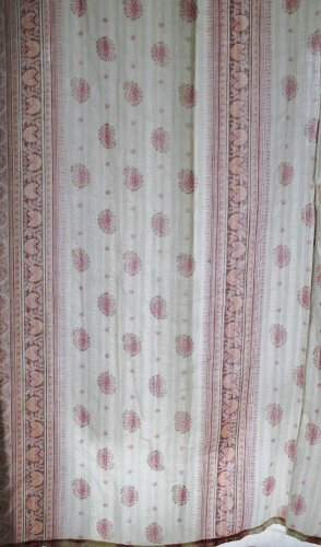 Bath Fashions By Ames Fabric Pink Paisley Shower Curtain 78X68