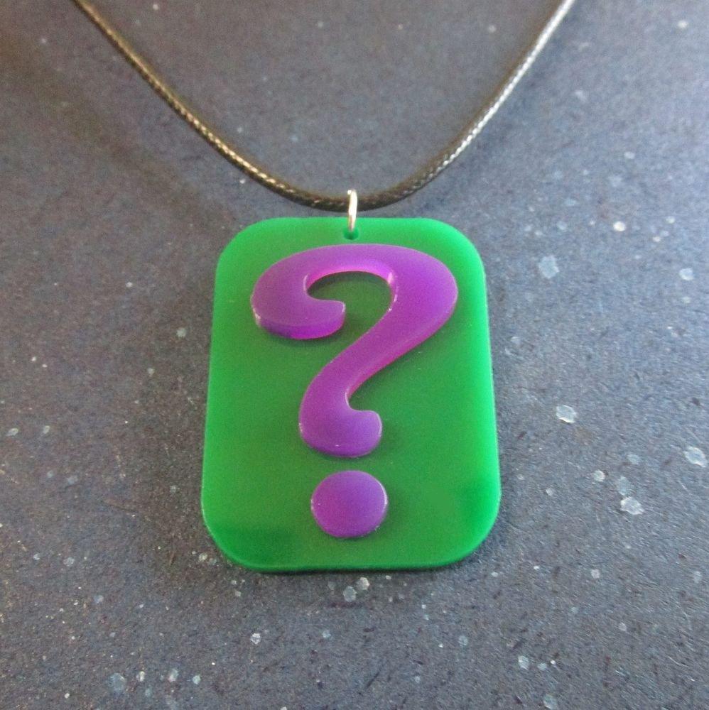 The riddler question mark logo pendant necklace emblem symbol cosplay aloadofball Choice Image