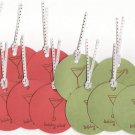 "Set of 12 ""Holiday Cheer"" Gift or Hang Tags - Martini Glass with Candy Cane"