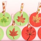 Set of 7 Orange and Green Autumn Fall Leaves Gift or Hang Tags
