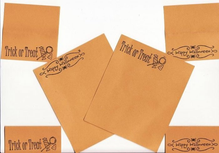 Mini Halloween Stationary Set - 4 mini cards and 2 sheets of note paper