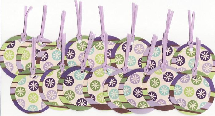 Set of 16 Retro Purple Starburst Gift or Hang Tags