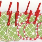 Set of 16 Red Checkered and Poinsettia Print Snowflake Christmas Gift or Hang Tags