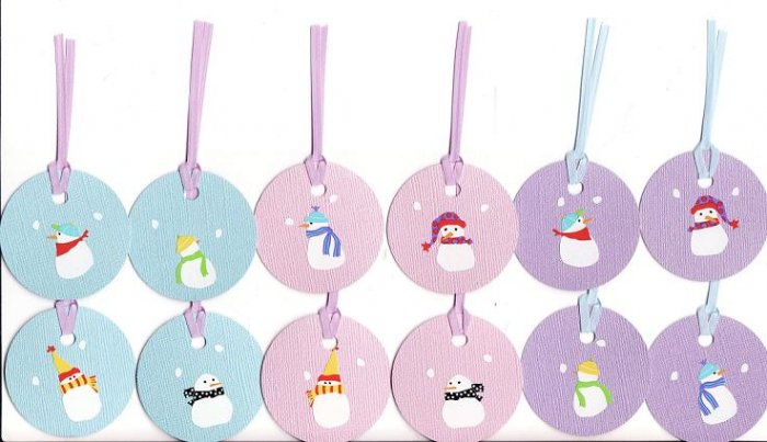 Set of 12 Blue, Pink, and Purple Bling Cardstock Snowmen Gift or Hang Tags
