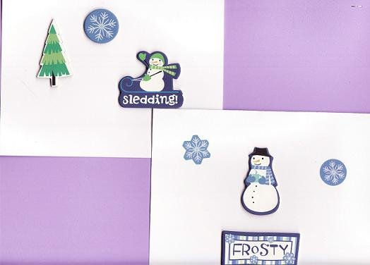 Set of 2 Dimensional Snowmen Cards with Matching Envelopes