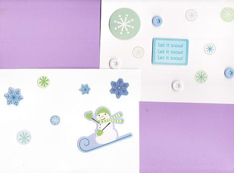 Set of 2 Snow Winter Cards with Envelopes