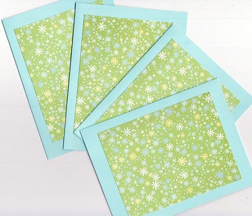 Set of 4 Aqua Green Flower Pixie Glitter Cards with Envelopes