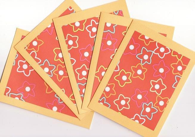 Set of 5 Orange Hawaiin Flower Cards with Envelopes