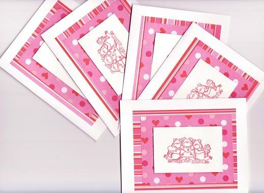 """Set of 5 """"Hogs and Kisses"""" Valentines Day Dimensional Cards with Envelopes"""