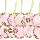 Set of 15 Pink Brown and Mint Green Retro Gift or Hang Tags