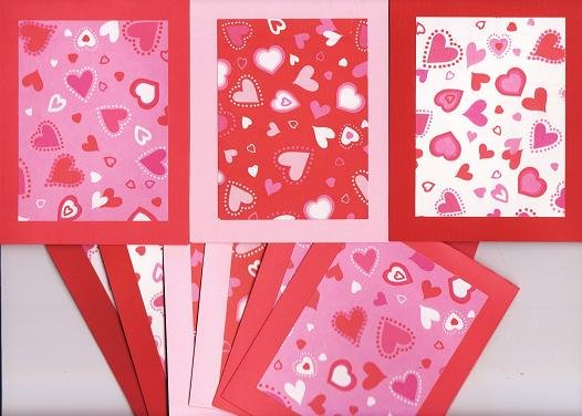 Set of 9 Multi Colored Hearts Valentines Day Note Cards