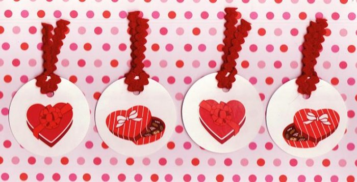 Set of 4 Valentines Day Chocolate Boxes Gift or Hang Tags with Felt String