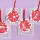 Set of 4 Love Bugs Valentines Day Tags with Matching Vellum Heart Envelopes